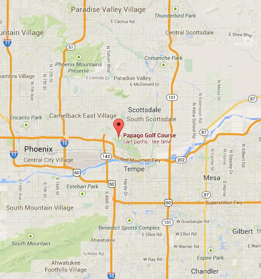 Papago Golf Course Phoenix AZ Map