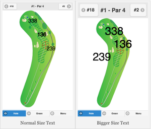 Golf GPS Usability - Variable Size Text and Yardages