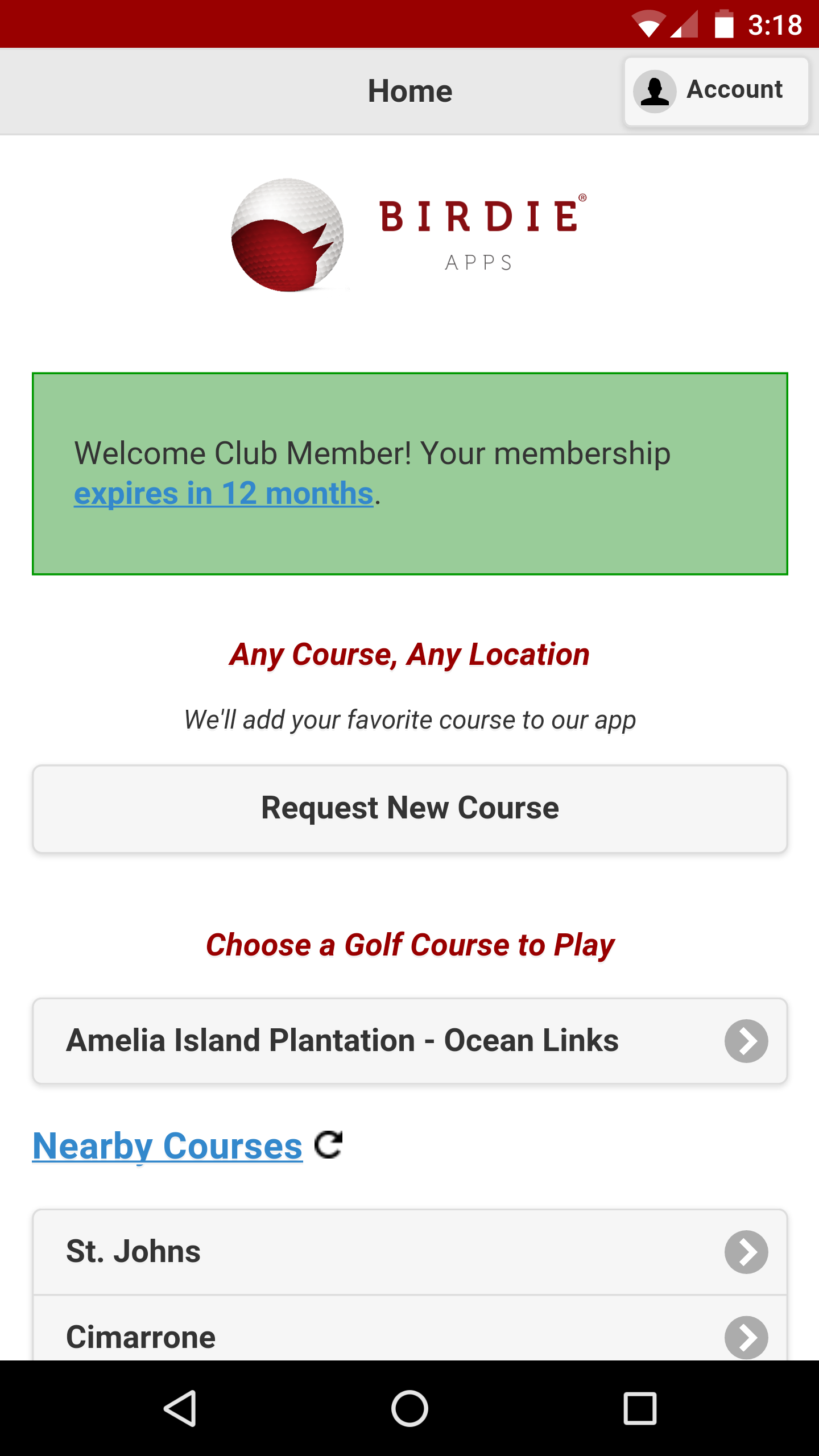 Golf GPS App Home Screen Club Member
